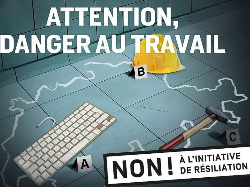 Publicité de l'USS: Attention danger au travail.